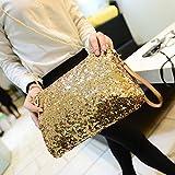 kingken Luxus Pailletten Umschlag Party Abend Clutch Handtasche Handtasche für Damen, goldfarben