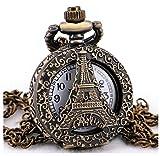 #10: LMP3Creation Fashion Classical Bronze Vintage Retro Antique Look Victorian Style Skeleton Hollow Paris Eiffel Tower Pocket Watch - Unisex Pendant Necklace Watch (POW-0180)