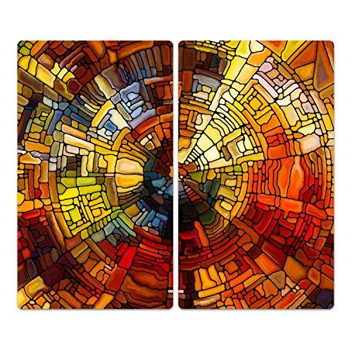 DekoGlas Herdabdeckplatten Set inkl. Noppen aus Glas 'Glasmalerei', Herd Ceranfeld Abdeckung, 2-teilig universal 2X 52x30 cm -