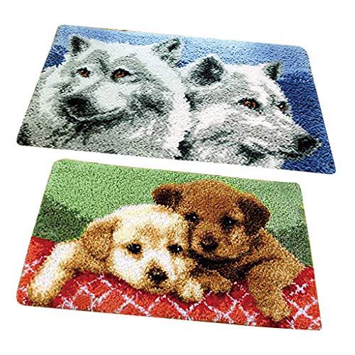 IPOTCH 2 Satz Knüpfteppich Formteppich für DIY Handarbeit Teppich mit schöne Wolf und Hund Bilder, Latch Hook Kit -