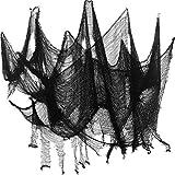 2 Pezzi Panno di Halloween Creepy Dimensioni delle Decorazioni in Poliestere Panno Spaventoso Spettrale Halloween Articoli per Feste, Nero (8 Yarde x 30 Pollici)
