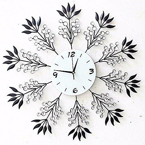 opiniones bbslt reloj de pared de hierro grande moderno salon de moda muebles reloj despertador silencio arte diamante reloj reloj de