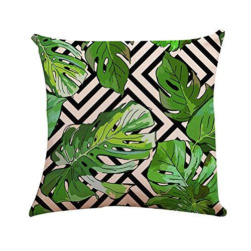YEARNLY Bettwäsche aus Baumwolle Kissenbezüge Tropische Pflanzen Blätter Dekorative Setzen Fall Sofa Kissenbezug 45 * 45cm -