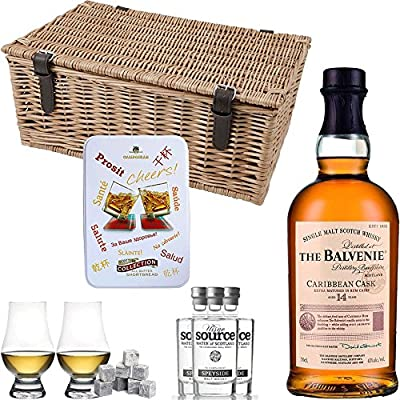 The Balvenie 14 Year Old Caribbean Cask Single Malt Scotch Whisky Hamper Gift Set With Handcrafted Gifts2Drink Tag