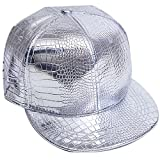 Belsen Damen Winter Vintage Serpentin Baseball Cap Leder Trucker Hat (Silber)