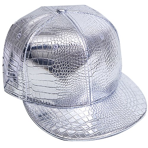 Belsen Damen Winter Vintage Serpentin Baseball Cap Leder Trucker Hat (Silber) -