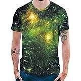 Cebbay Camisetas Hombre Estampado Estrella 3D con Cuello Redondo Casual Camisas de Hombre Camisa Polo(Verde, Large)
