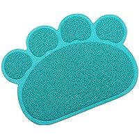 Hunde Vorleger Matte Matratze Haustier-Tischset Platzmatte Tischmatte für Hunde Katzen,Kleine elastische PVC Pfote Desig (Dunkelgrün-Blau)