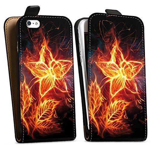 Apple iPhone X Silikon Hülle Case Schutzhülle Feuer Blume Pflanze Downflip Tasche schwarz