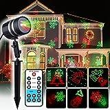 COOWOO Weihnachtsbeleuchtung Led Weihnachts Projektor Beleuchtung für Innen und Außen rot grün mit 8 Mustern im Aluminium Gehäuse und Fernbedienung