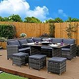9 Seater Rattan Corner Garden Sofa & Dining Set Furniture Black Brown Dark MixedGrey Outdoor Protective Cover Included (Dark Mixed Grey With Dark Cushions)