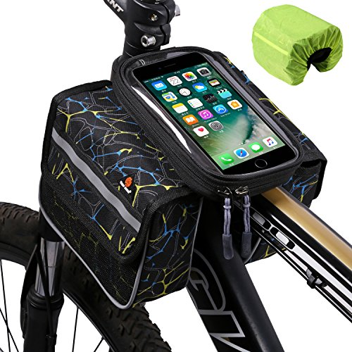 West Biking Bike Front Frame Bag Touch Screen Phone Holder Bags Panniers Double Pouch Head Top Tube Bicycle Pack Bike Accessories