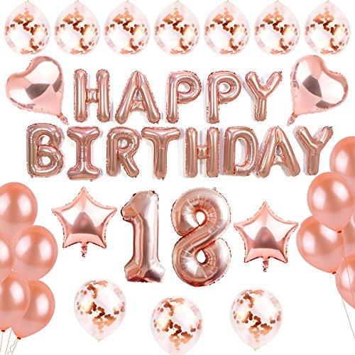 Dekoration Rosegold, 18th Happy Birthday Party Ballons Banner für Mädchen und Jungen ()