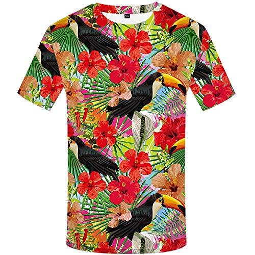 NEWESTAR Papagei T-Shirt Männer Blume T-Shirt Hip Hop T-Shirt Rot 3D Print T-Shirt Coole Herrenbekleidung Neue Sommer Casual Tops, XXL - Für Männer Blumen-shirt