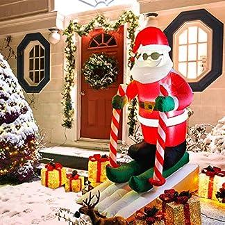 CCLIFE Muñeco hinflable de Papá Noel inchable LED, exterior, iluminación navideña navidad decoracion