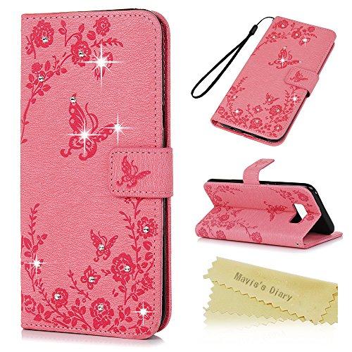 Mavis's Diary Case für Samsung Galaxy S8 PU Leder (TPU innere Schicht) Tasche Flipcase Glitzer-Strass Case Schutzhülle Schmetterling und Blumen Strasstein mit Kreditkarteninhaber Kippständer Magnetverschlus Handyhülle Rosa