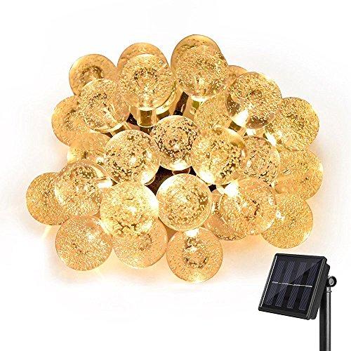 LED Solar Lichterkette außen, LED Lichterkette, LED String licht, 6.5m lang Meter 30 LEDs Warmweiß Kugeln Lichterkette, Solarlampe für Garten Party Hochzeiten Bäume Weihnachten Dekoration