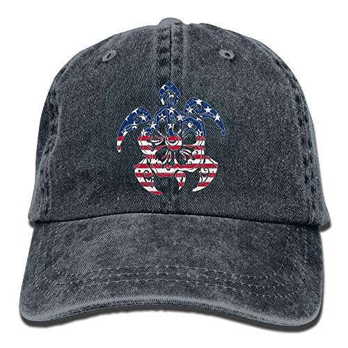 USA Flag Turtles Hibiscus Hawaii Flower Vintage Washed Dyed Cotton Twill Low Profile Adjustable Baseball Cap Black Fitted caps Twill-fitted Cap