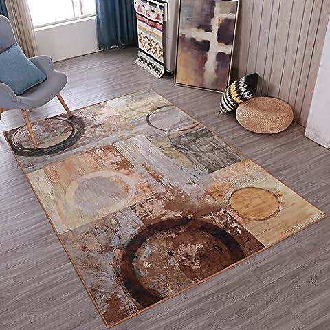 abstrait Feeling Home Rugs Art–Memorecool pas la décoloration Anti-slipping moderne Tapis à motifs Table à thé de salon 88,9x 149,9cm, Retro4, 47x71inch