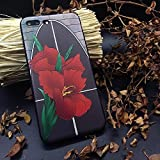 Case+Tempered_Glass Premium Quality Soft Gel Skin Snap on Cover Fits Apple iPhone 6 Plus/6S Plus Hand Drawing Embossed Red Canna Indica