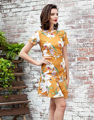 Missord - Robe - Décontracté - Manches Courtes - Femme Multicolore/jaune