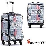 Trolley Valigia Bagaglio a Mano Sanpoints America 4 Ruote Manico Regolabile Doppio scompartimento