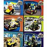 6 er Set Spielfiguren und Fahrzeug Set, Kart-, Baustellen-, Militärfahrzeuge. Geeignet für Steck- und Legespiele, Spielsteine kompatibel mit anderen Baukastensystem- Bausteinen