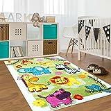 carpet city Kinder Teppich für Das Kinderzimmer Öko Tex 100 5508 Nette Tiere grün 160x225 cm