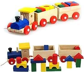 JIADA Wooden Blocks Stacking Train Educational Toy Set