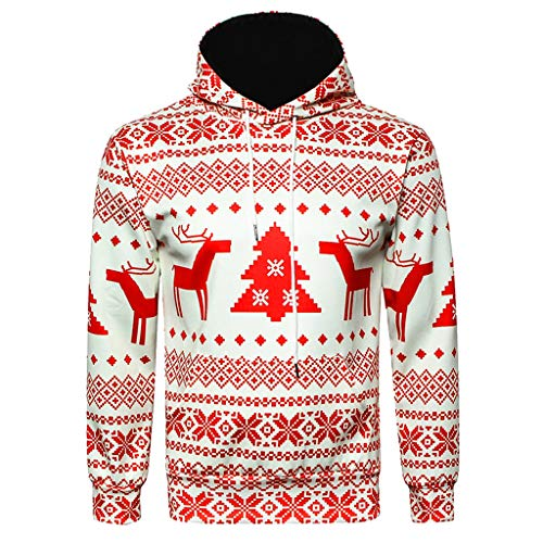 hoodie pullover Liusdh Couple models men and women Christmas 3D reindeer Christmas tree cut flower print hooded pullover sports sweater(Red,XXL) Christmas Tree Jumper