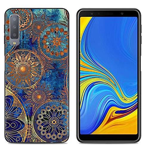 Custodia per Samsung A7 2018 Cover Silicone, SpiritSun Morbido TPU Trasparente Cover per Samsung Galaxy A7 2018 Antiurto e AntiGraffio Bumper Copertina Smartphone Case-Mandala Blu
