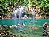 Artland Qualitätsbilder I Glasbilder Deko Glas Bilder 60 x 45 cm Landschaften Gewässer Wasserfall Foto Grün A9DM Wald Erawan Waterfall National Park