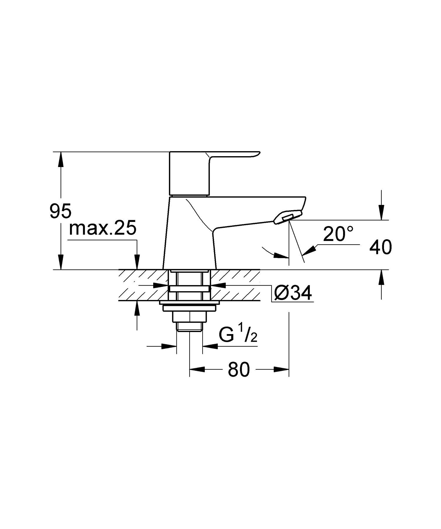 Grifo de lavabo con cadenilla Ref 23336000 Tama/ño S Grohe Loop