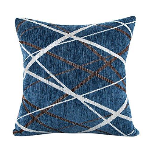 Coussin en Peluche Canapé Housse de Coussin,Covermason Rayures de Chenille Forme géométrique Canapé-lit Home Decor Taie Housse de Coussin 42cm*42cm (Bleu)