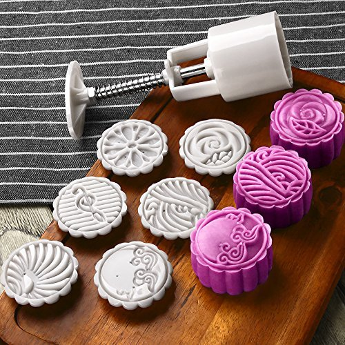 Moon Cake Mold with 6 Stamps - Mid Autumn Festival DIY Decoration Cookie Press 50g Cake Press