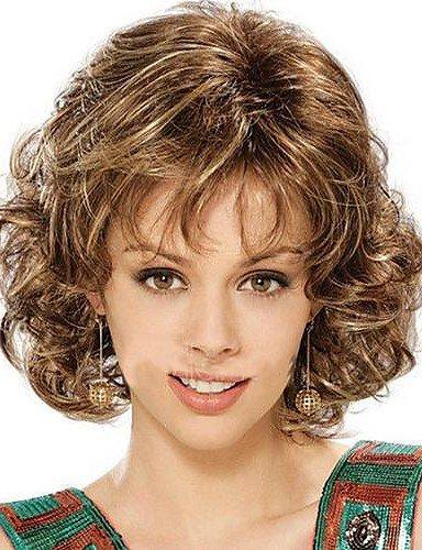 Fashion Lady court blond brun mixte Cheveux Bouclés Cosplay Perruques complet