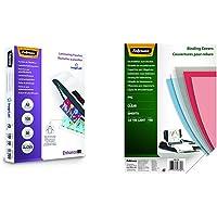 Fellowes 5306002 Pochettes de Plastification A5 80 Microns par 100 Transparent & 5376001 Couvertures A4 Transparent…