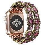Apfel Uhrenarmband 38mm, handgefertigte Vintage Faux Kristall Stein Strass Perlen Armband Handgelenk Strap Elastische Stretch Smart iWatch Ersatzbänder für Serie 2 Serie 1 (Pink)