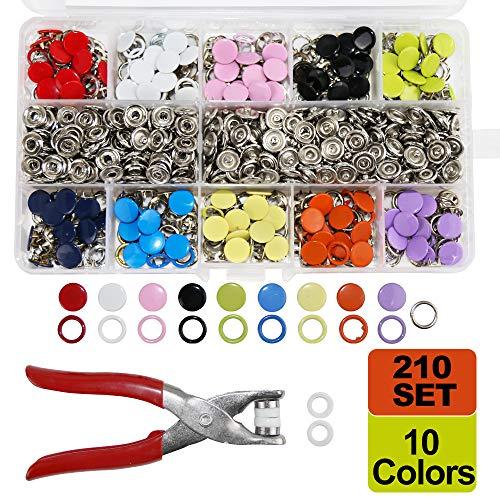 SUNTATOP 210 Druckknöpfe, 10 Farben Nähen Knöpfe mit Knopf Werkzeuge für DIY Kleidung, Nähen Handwerk, Kleidung Reparaturen, etc.