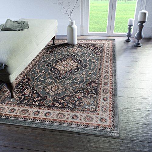 Traditioneller Klassischer Teppich für Ihre Wohnzimmer - Dunkel Grün Creme Beige - Perser Orientalisches Heriz Keshan Muster - Blumen Ornamente - Top Qualität Pflegeleicht