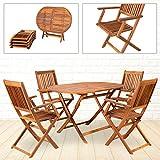 Miweba Holz Sitzgruppe Tobago oval Sitzgarnitur Gartengarnitur Gartenmöbel Essgruppe Outdoor inklusive 4 Stühlen klappbar