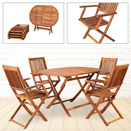 4 Gartenstühle mit Tisch stabile Konstruktion verzinkt Holz klappbar 5 teilig