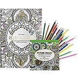 COM-FOUR® 2x Malbücher für Erwachsene zur Entspannung und Meditation in verschiedenen Ausführungen mit 240 Designs, mit 24 Buntstiften (Set 4)