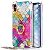 Coque iPhone X,Etui iPhone X,ikasus [Support bague] Crystal Glitter Bling diamant...