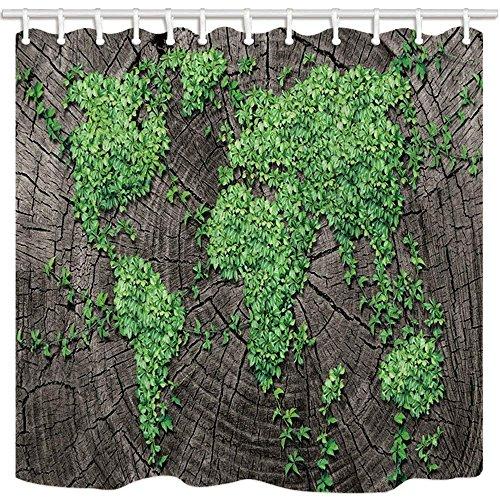CDHBH Creative World Map Vorhänge Dusche für Badezimmer Vine Blätter auf Vintage Polyester-Holz-Wasserdicht Bad Vorhang Vorhang für die Dusche Haken Enthalten 180,3x 180,3cm Vines Design Snap