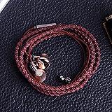 URIZONS In-Ear-Ohrhörer, Surround-Kopfhörer Sport-Headsets mit Mikrofon Fernbedienung für Alle iPhone- und Android-Geräte Fabric Braided Tangle-Free Armband Brown