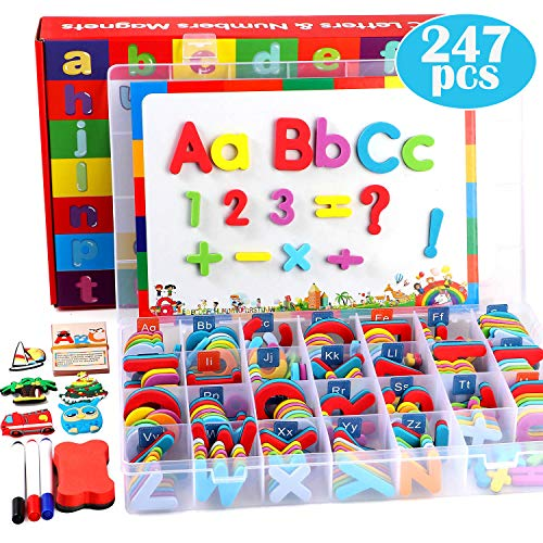 Lewo 247 Stück Magnetic Letters Puzzle mit Magnettafel und Aufbewahrungsbox Schaum Alphabet ABC Kühlschrankmagnete Lernspielzeug für Kinder Kleinkinder -