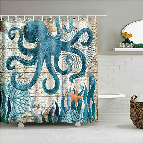 YONG-SHENG Octopus Print Polyester Duschvorhang Marine Life Wasserdicht und Mildewproof Gewebe Wohnaccessoires Eingestellt mit Haken 180cm x 180cm (Style 16)