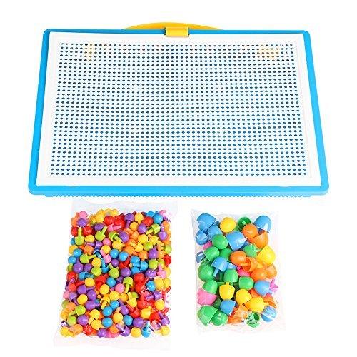 ONEVER 296Pcs Mushroom Clous Pegboard puzzle pour enfants, totalement 6 couleurs, un cadeau parfait pour vos enfants