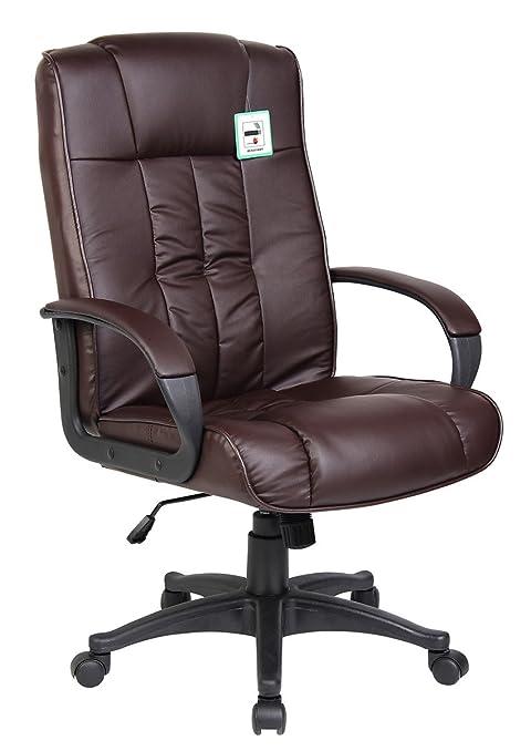 Sedia da Ufficio Girevole in Pelle per Scrivania e PC - Marrone ...